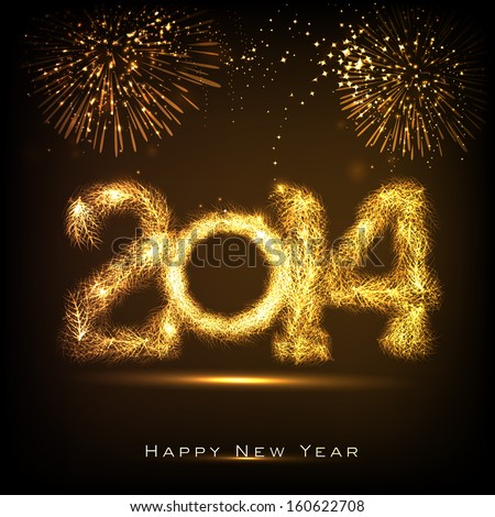 Happy New Year 2014 celebration concept with golden text on beautiful fireworks in the night.  - stock vector