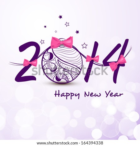 Happy New Year 2014 celebration flyer, banner, poster or invitation with stylish text and floral decorated Xmas ball on purple background.  - stock vector