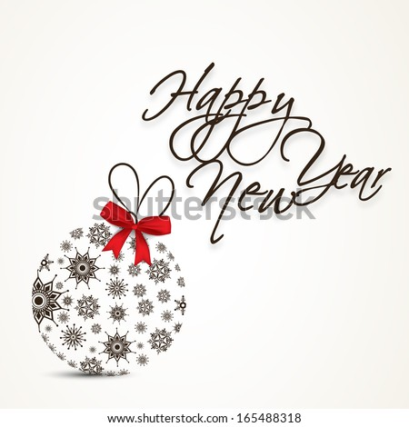 Happy New Year 2014 celebration flyer, banner, poster with decorative Xmas ball and red ribbon and stylish text on abstract background.  - stock vector