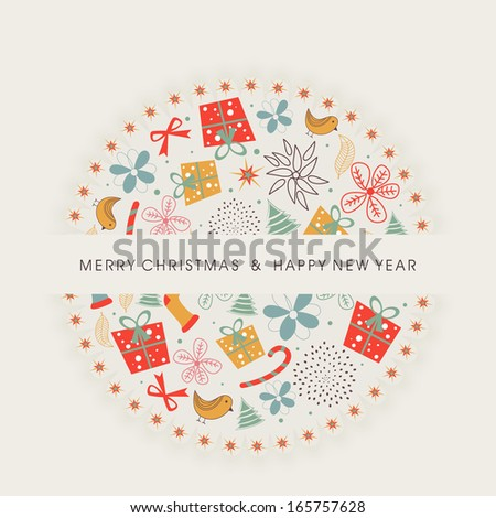Happy New Year 2014 celebration flyer, poster, banner or invitation with colorful ornament on Christmas ball on abstract background.  - stock vector