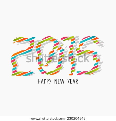 Happy New Year 2015 celebration flyer, poster, banner or invitation with stylish colorful text on grey background. - stock vector