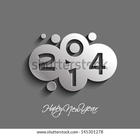 Happy new year 2014 celebration greeting card design.  - stock vector