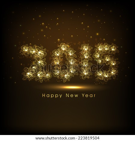 Happy New Year 2015 celebration greeting card design with golden text on brown background.  - stock vector