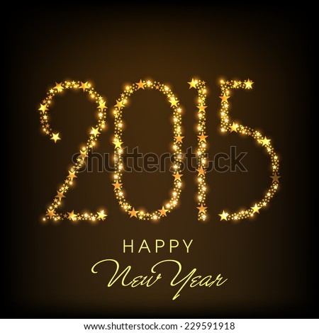 Happy New Year 2015 celebration greeting card design with golden text on shiny brown background. - stock vector