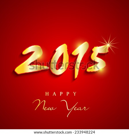 Happy New Year 2015 celebration greeting card design with shiny golden text on red background.