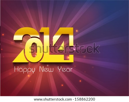 Happy New Year 2014 celebration party poster, banner or invitations with golden stylize text 2014 on purple background. - stock vector