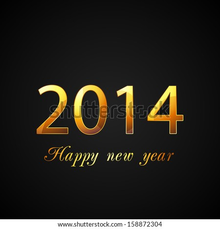 Happy New Year 2014 celebration poster, banner or flyer design with golden text.