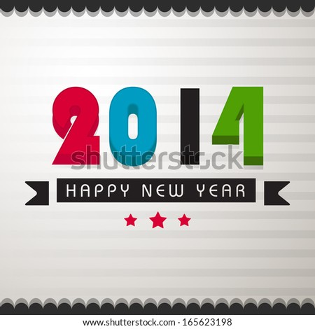 Happy New Year 2014 celebration poster, banner or flyer with colorful text on notebook page background.