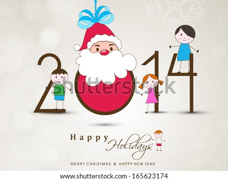 Happy New Year 2014 celebration poster, banner or flyer with happy Santa Claus and little kids on abstract background.  - stock vector