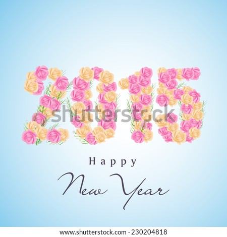 Happy New Year celebration poster or greeting card decorated with text 2015 made by rose flowers on blue background. - stock vector