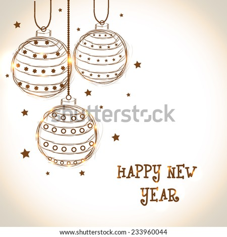 Happy New Year 2015 celebration with beautiful floral design decorated hanging X-mas Balls on shiny background. - stock vector