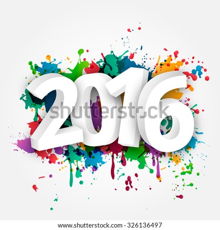 Happy new Year celebration 2016 with colorful spray paint template background. Vector paper illustration.