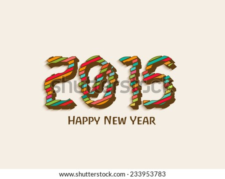 Happy New Year 2015 celebration with stylish text on beige background.
