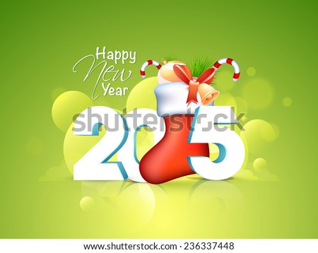Happy New Year celebrations greeting card design with 3D text 2015 and Santa Socks full of gifts on shiny green background.