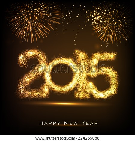 Happy New Year 2015 celebrations greeting card design with golden text on fireworks decorated brown background.  - stock vector