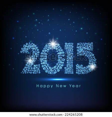 Happy New Year 2015 celebrations greeting card design with shiny text on blue background.  - stock vector