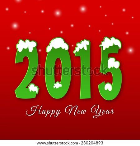 Happy New Year 2015 celebrations greeting card design with stylish text covered with snow on red background.