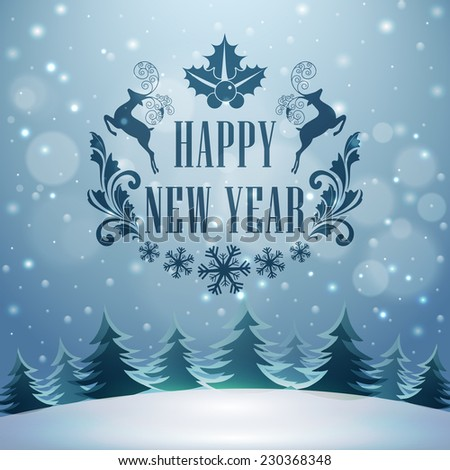 Happy New Year celebrations with stylish text and reindeer's on winter night background, can be used as poster, banner or flyer. - stock vector