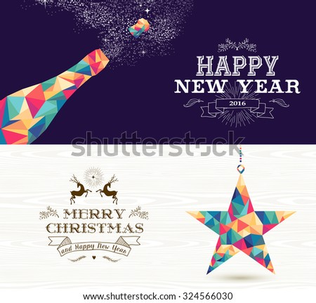 Happy New Year champagne and Merry Christmas shooting star in hipster triangle shapes. Useful as holiday banners or greeting card designs. EPS10 vector. - stock vector