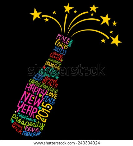 Happy New Year champagne bottle word cloud - stock vector