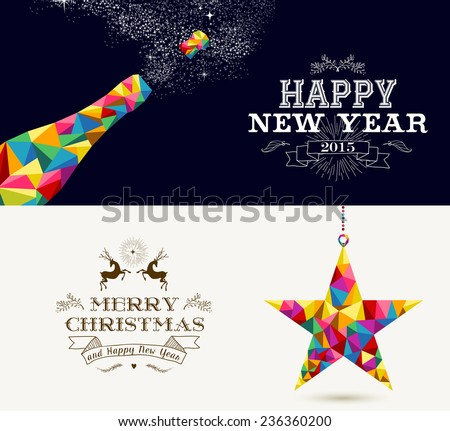 Happy New Year champagne splash and Merry Christmas shooting star in hipster triangle shapes. Useful holiday banners or cards design for season greetings. Vector organized in layers for easy editing. - stock vector