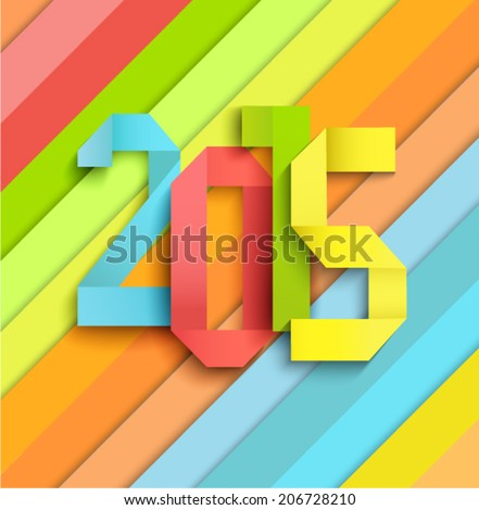 Happy New Year 2015 colorful celebration background in a paper style  - stock vector