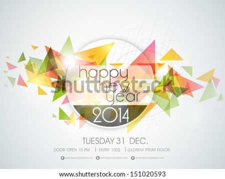 Happy new year 2014 colorful celebration stock vector 2018 happy new year 2014 colorful celebration party poster banner or invitations voltagebd Image collections