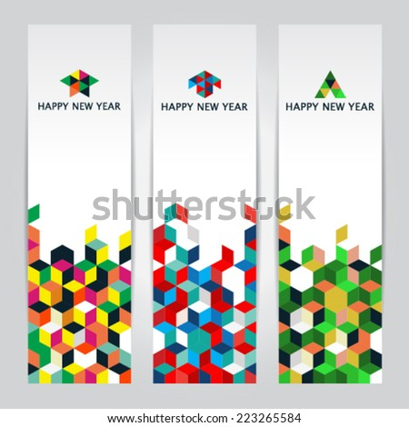 Happy New Year - colorful cube vertical web banners - stock vector