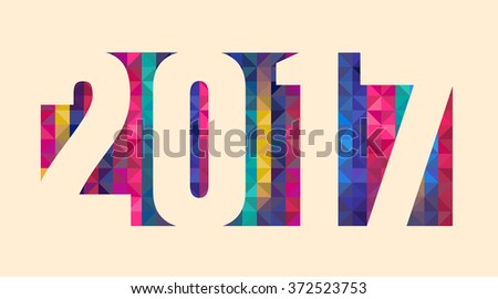 Happy new 2017 year. Colorful design. Vector illustration and photo image available.