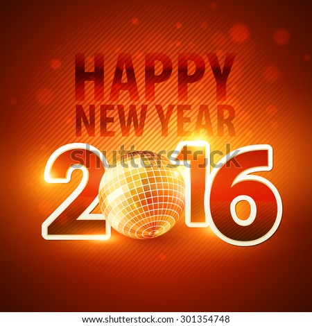 Happy New Year 2016 colorful disco lights background. Vector illustration EPS 10 - stock vector