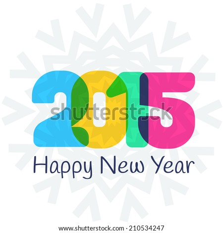 Happy New Year 2015 colorful greeting card.