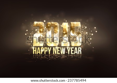Happy New Year 2015 colorful greeting card made in polygonal origami style. Party poster, greeting card, banner or invitation. Number formed by triangles. Vector - stock vector