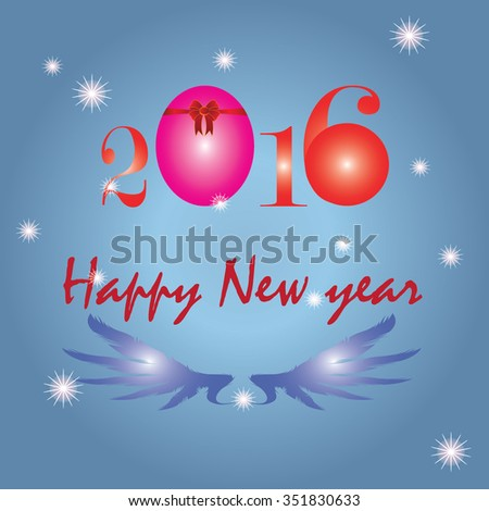 Happy New Year 2016 colorful greeting card made in polygonal origami style. Party poster, greeting card, banner or invitation. Number formed by triangles. Vector