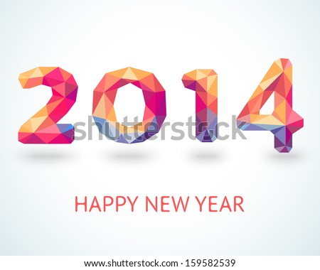 Happy New Year 2014 colorful greeting card made in polygonal origami style. Vector illustration for holiday design. Party poster, greeting card, banner or invitation. Number formed by triangles.
