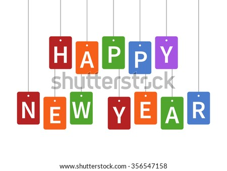 Happy New Year colorful hangtags poster display