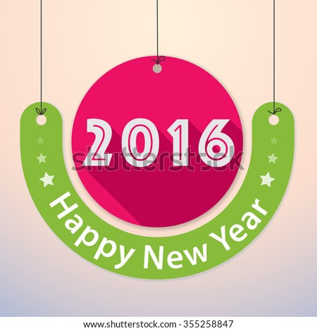 Happy New Year 2016 - Colourful Paper Tag Design