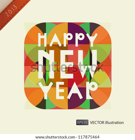 Happy New Year composition. Vector illustration. eps 10 - stock vector