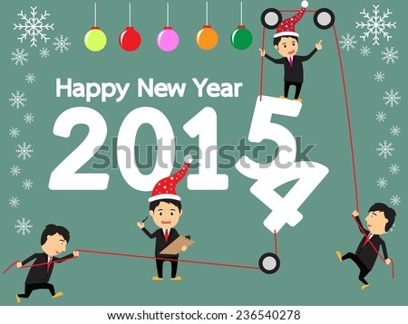 happy new year concept, businessman change the number 2014 are 2015, vector illustration - stock vector