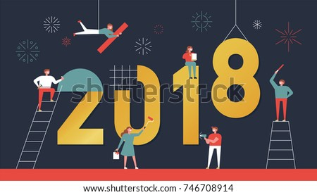 happy new year concept card. small people character built 2018 text.  vector illustration flat design