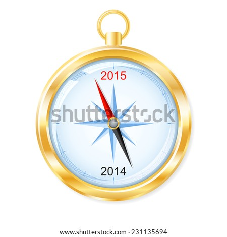 Happy New Year concept. Golden compass points to 2015. Vector illustration