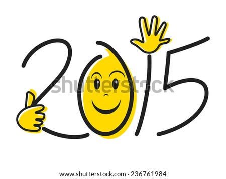 Happy new year 2015, concept, isolated vector illustration - stock vector
