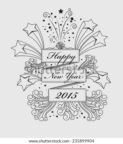 Happy New Year congratulate in rectangle space with line drawing , vector background - stock vector