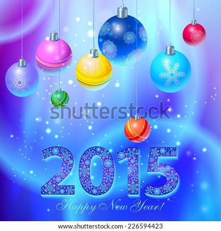 Happy new year 2015 creative greeting card design.