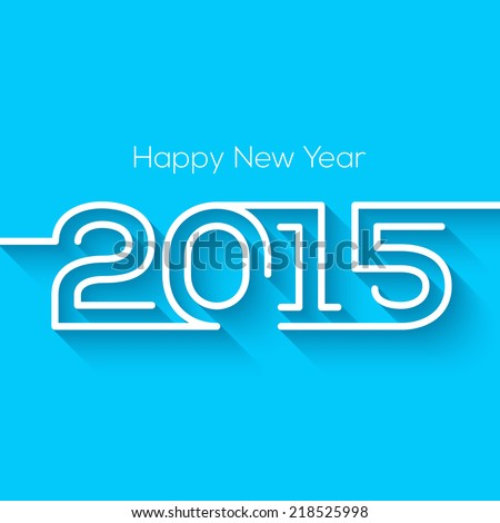 Happy new year 2015 creative greeting card design in flat style with long shadow. - stock vector