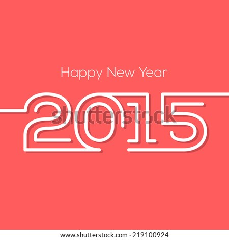 Happy new year 2015 creative greeting card design in flat style with shadow. - stock vector
