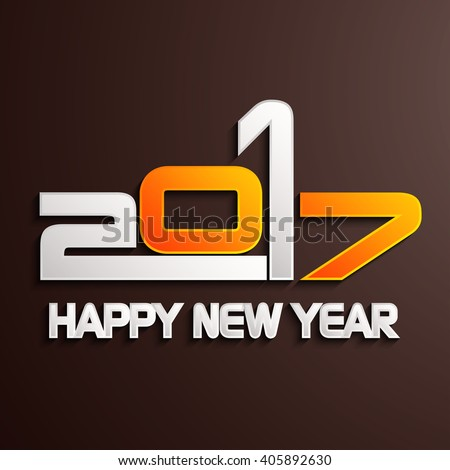 Happy new year 2017 creative greeting card design / Year 2017 vector design element.  - stock vector