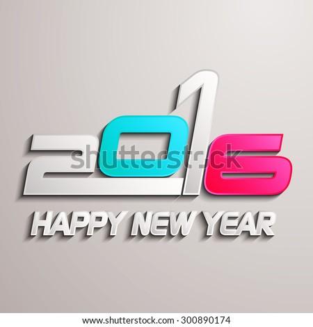 Happy new year 2016 creative greeting card design / Year 2016 vector design element / Creative happy new year 2016 design.    - stock vector