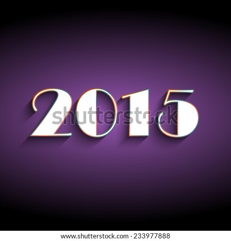 Happy new year 2015 creative greeting card logo design in purple and black color. Flat design in long shadow Vector illustration EPS10