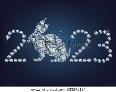 Happy new year 2023 creative greeting card with Rabbit made up a lot of diamonds
