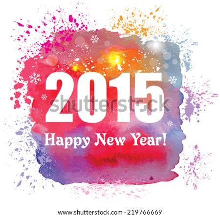 Happy new year 2015 creative greeting stock vector 219766669 happy new year 2015 creative greeting card with watercolor effect vector m4hsunfo